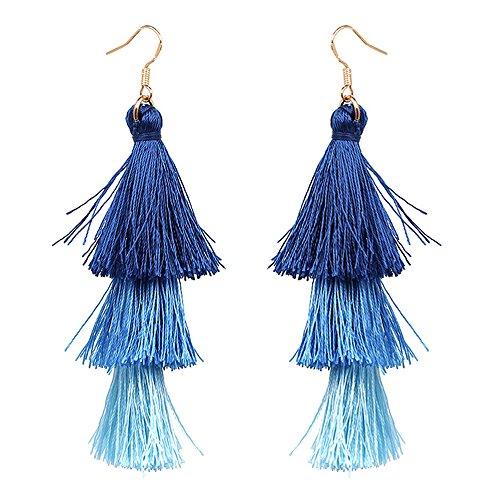 Tassel Dangle Threader Drop Earrings Ear Studs Layered Fringe Thread Hoops Linear Tribal Charms Jewelry Blue Tone