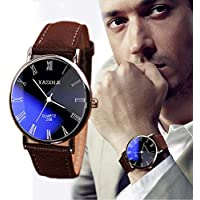 Clearance!Mens Quartz Analog Watches,Canserin Luxury Faux Leather Blue Ray Glass