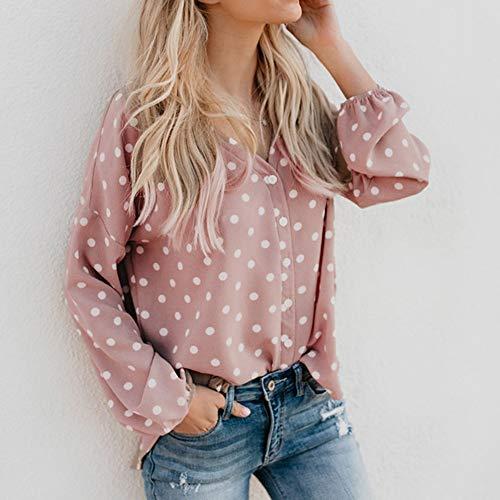 Chemisier V Col Chic Shirt Button Hauts Longue Rose Rameng Chemise Manche a Blouse Pois Femme Up Femme OdwP7q