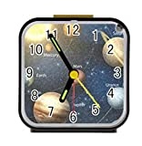 LiFei Business The Solar System with the Planets Orbiting the Sun Alarm clock for children Custom Square Black Alarm Clock