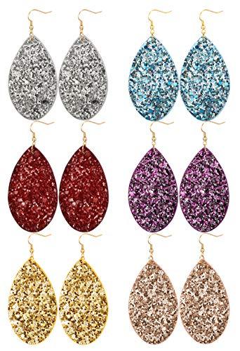 Leather Dangle (JOERICA 6 Pairs Leather Dangle Earrings for Women Girls Statement Teardrop Drop Earrings Set)