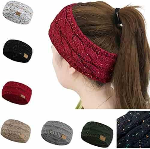 42dda901ae9 Huiyuzhi Womens Winter Warm Beanie Headband Skiing Cable Knit Cap Ear Warmer  Headbands