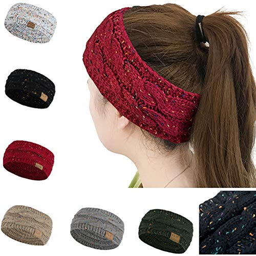 Huiyuzhi Womens Winter Warm Beanie Headband Skiing Cable Knit Cap Ear Warmer Headbands (One Size, A-White)