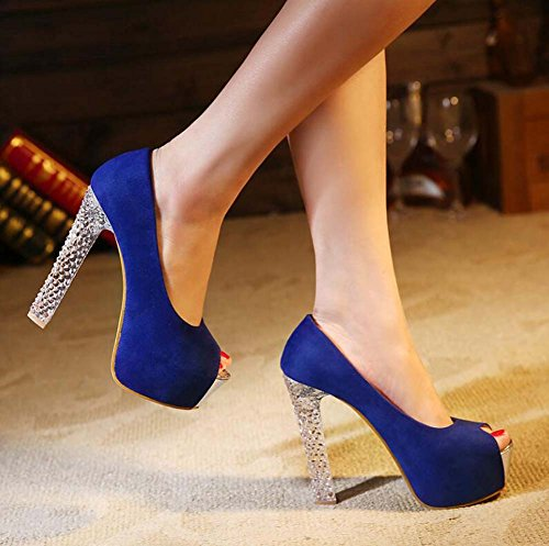 Shoes Shoes Wedding Pump 4cm Court Crystal 34 Peep Charming Chunkly 5cm Size Transparent Platform Shoes Women Dress Color Eu 12 Party Crystal Pure Toe Heel OL Blue 44 Heel Shoes qSwAdwxOv