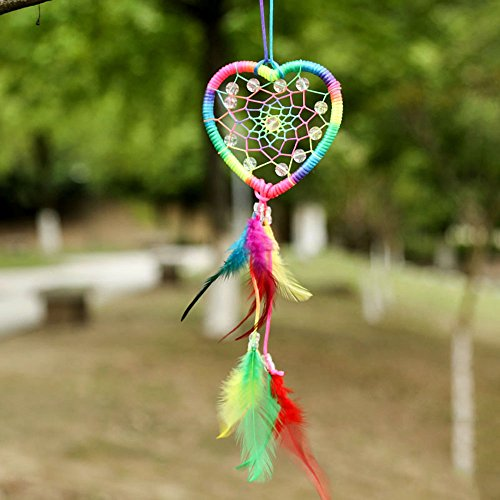 Medium Rainbow Handmade Dream Catcher, Heart Shape Kids Room Hanging Decoration, Wall Hanging Home - Shape For Heart Kids
