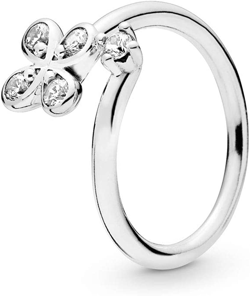 PANDORA Four-Petal Flower 925 Sterling Silver Ring - 197988CZ
