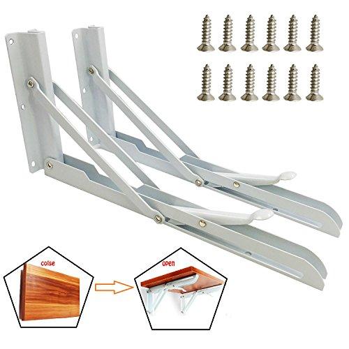 12 Inch Locking Hinge - Wall Mounted Folding Shelf Bracket Table Hardware White Metal Triangle Table Hinges Heavy Duty Shelf Brackets with 12 Screws - Locking Brackets