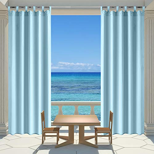 (HGMart Outdoor Curtain Panel for Porch Patio,Top Tab Window Curtain with UV Ray Protected and Waterproof ,Easy to Hang On (Sky Blue, 50