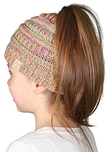 Funky Junque's BeanieTail Children's Ponytail Messy Bun Beanie Solid Ribbed Hat