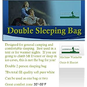 American Trails Ozzie and Harriet Double 2 Person Giant Sleeping Bag, 80-Inch x 66-Inch