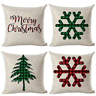 Youngnet Set of 4 Red and Green Plaid Checker Merry Christmas Decorative Throw Pillow Cover Home Couch Cushion Cover 18 x 18