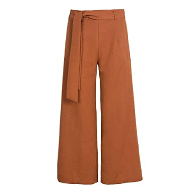 Femme Pantalon Large Longues Elégante Pantalon Ete Slim Fit Pantalons  Palazzo Jupe Pantalon Lanières Fille Vêtements 24c5972b60cf