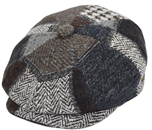 Men's Wool Newsboy Cap, Herringbone Driving Cabbie Tweed Applejack Golf Hat (2760-Brown Patch, X-Large) (Apple Jack Caps)