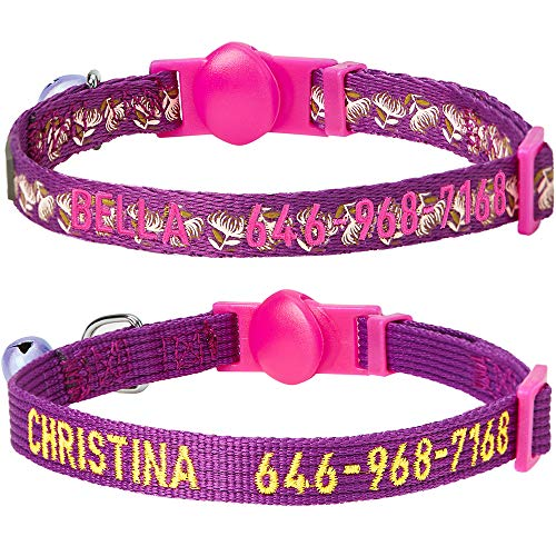 - Blueberry Pet Pack of 2 Personalized All in One Stunning Plum Cat Collars with Bell & Detachable Flower, Adjustable Breakaway ID Collars Embroidered with Pet Name & Phone Number