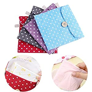 Storage Bags - Portable Sanitary Napkin Pads Storage Bag Cotton Linen Dot Coin Purse Credit Card Holder Bags - Avery Zipper Office Earthwise Twist Prime Organizer Pack Magnetic Vacuum