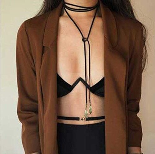 Retro Women Jewelry Gothic Black Velvet Choker Necklace Long Chain Leaf Pendant (Centrifuge Cups compare prices)