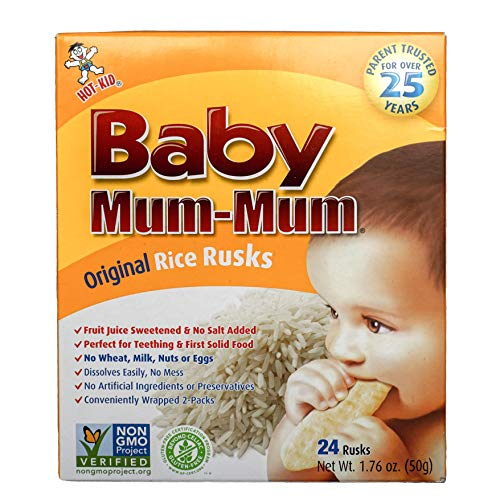 Hot-Kid Baby Mum-Mum Rice Rusks, Original, 24 Pieces (Pack of 6) Gluten Free, Allergen Free, Non-GMO, Rice Teether Cookie for Teething Infants
