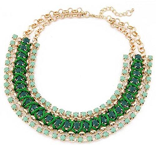 Weave Choker - JSDY Womens Girls Punk Weave Pendant Chunky Choker Necklaces Unique Jewelry Green