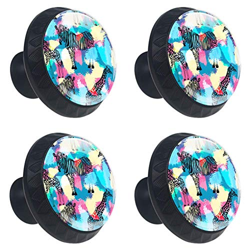 - LORVIES Zebra and Giraffe Drawer Knob Pull Handle Crystal Glass Circle Shape Cabinet Drawer Pulls Cupboard Knobs with Screws for Home Office Cabinet Cupboard (4 Pieces)