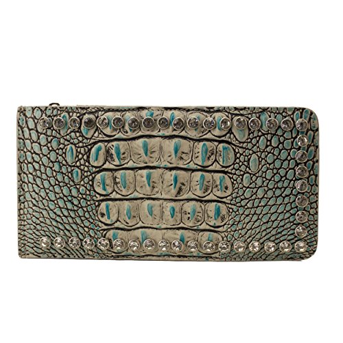 Raviani Turquoise Genuine Large Leather Wallet W/Clear Crystals