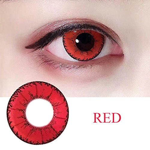Women Multi-Color Colored Cute Charm and Attractive Fashion Contact Lenses Cosmetic Makeup Eye Shadow (Type 1, Red) by Plohee