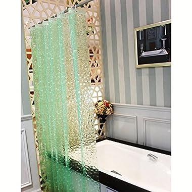 JBtek 3D Effect Bathroom Curtain 3D Water Cube Mold & Mildew Free Shower Curtain Shower Liner 100% EVA with Plastic Hooks (Green)