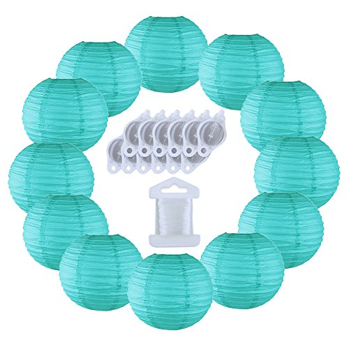 Just Artifacts 12inch Decorative Round Chinese Paper Lanterns 10pcs w/ 12pc LED Lights and Clear String (Color: (Turquoise Clear Light)