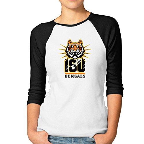 Zoena Womens Three Quarter Sleeve Tees   Idaho State University Bengals Black M