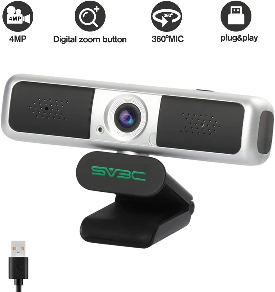 Computer Camera with Microphone,SV3C 4MP Webcam with Digital Zoom Button Privacy Cover,360° Vision USB PC Computer Webcam with Microphone for Laptop Desktop Online Video Remote Study Conference Games