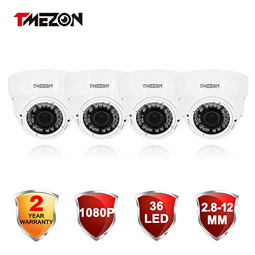 TMEZON 4 Pack 2.0MP HD-TVI Outdoor HD Dome Camera 2.8-12mm Zoom Lens 1080P SONY Sensor 36IR 99ft Night Vision ONLY WORK WITH HD-TVI DVR
