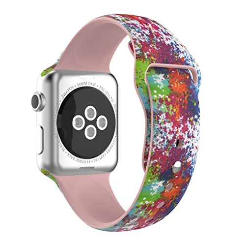 Bracelet Printed Pattern (YaSpark Apple Watch Band 42mm, Special Pattern Printed Silicone Replacement Sports Bands Bracelet Strapfor Apple Watch 42mm Series 3 2 1 Version)