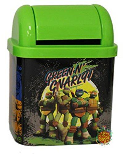 "Teenage Mutant Ninja Turtles Desktop Waste Bin Tin - ""Green N"