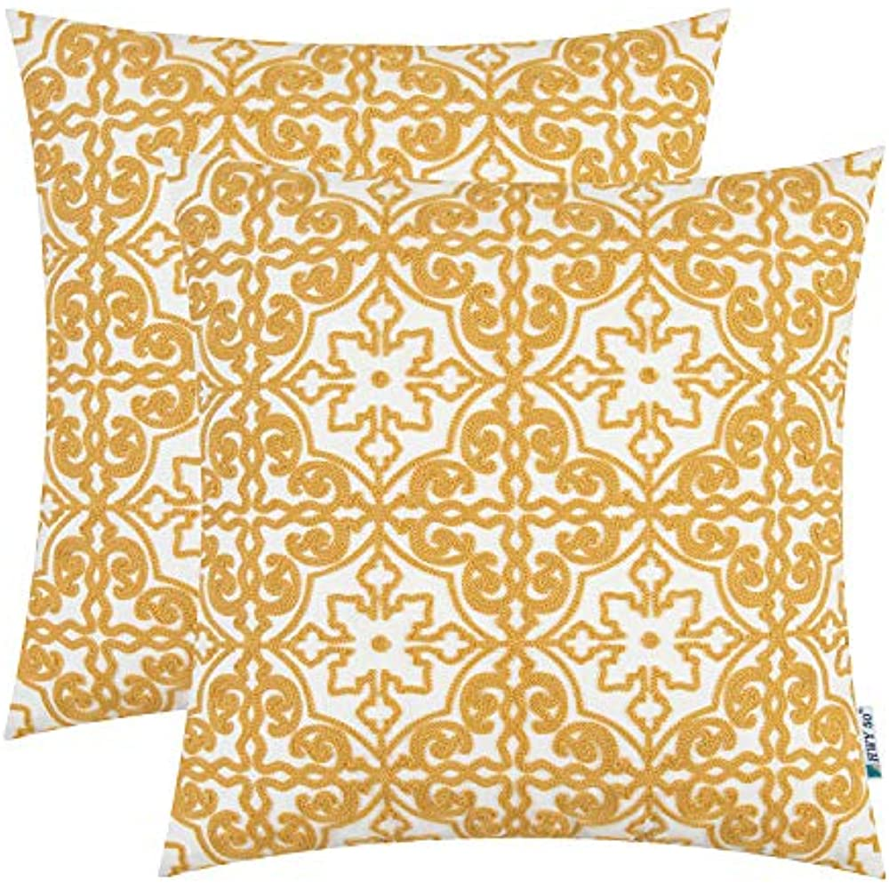 Pack Of 2 Yellow Embroidered Throw Pillows Covers For