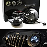 "iJDMTOY (2) Black Bezel 40W High Power CREE 7"" Round LED Headlights w/ Dual Low, High Beam For Jeep Wrangler, CJ (Also any car with 7"" round shape headlamps)"