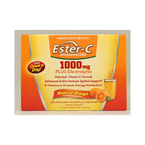 American Health Ester-C Effervescent 1000 mg, Natural Orange - 21 Packets, 4 Pack by Unknown