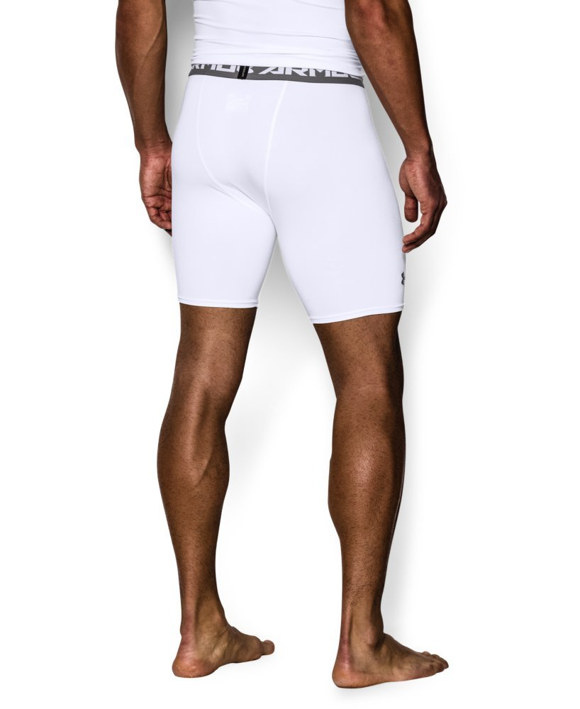 Under Armour Men's HeatGear Armour Compression Shorts – Mid, White (100)/Graphite, Large by Under Armour (Image #2)