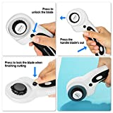 45mm Rotary Cutter Set, AGPtEK Rotary Cutter with 7 Replacement Rotary Blades, Rotary Blades & Safety Lock for Precise Cutting, Ideal for Sewing Fabric Leather Quilting & More