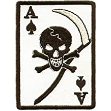 """Ace Of Spades With Grim Reaper Skull Large Motorcycle Vest Patch 8.5"""" x 6"""""""