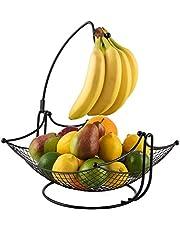 DINETTE DECOR Fruit Basket + Banana Holder Elegant Fruit Bowl with Banana Tree Hanger Black or Chrome for The Classic Look (Black)