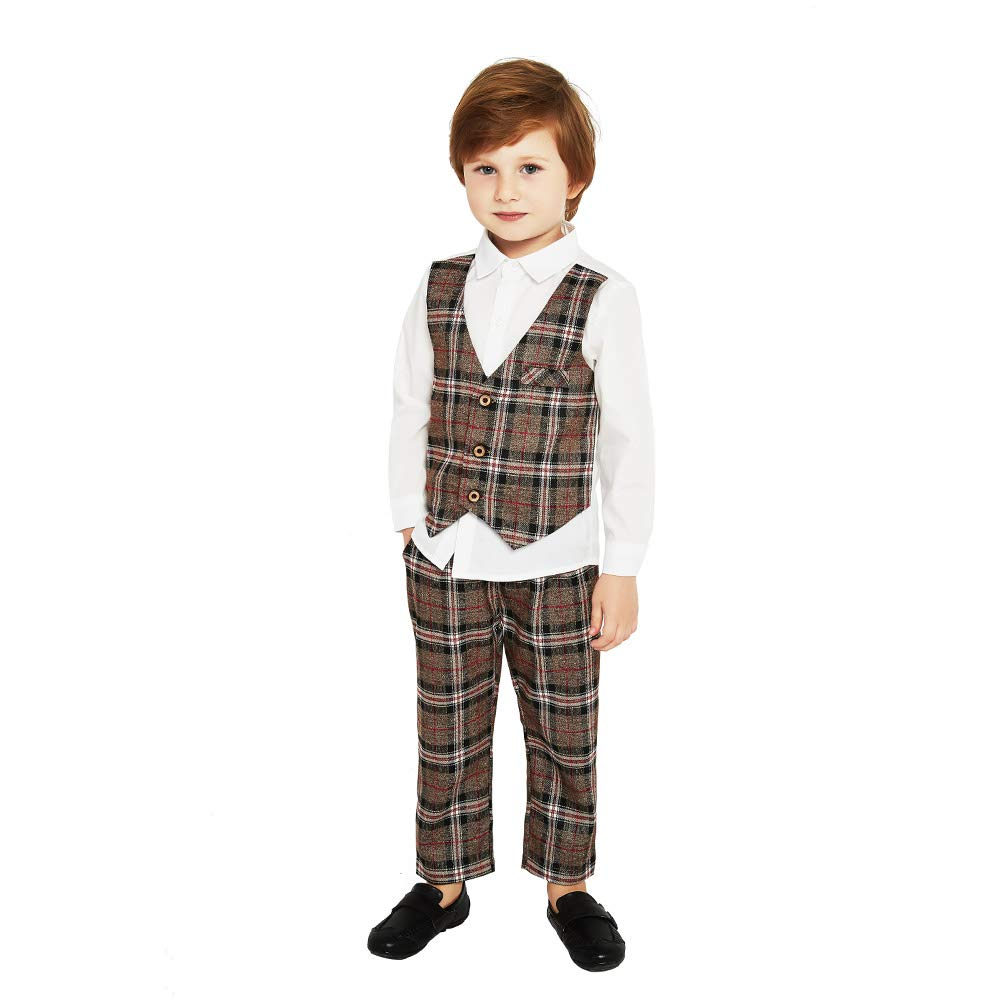 Xiangwu Textitle Baby Boy Gentleman Suit Vest Pants 3PC Clothes Outfit Set Shirt