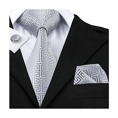 Hi-Tie Men Classic Black Grey Tie Necktie with Cufflinks and Pocket Square Tie Set (N-GG484)