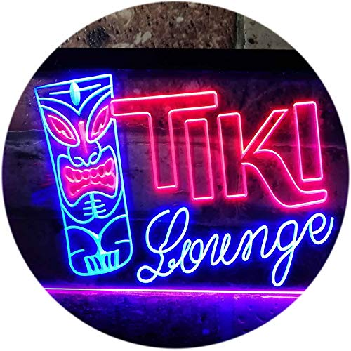 Tiki Lounge Bar Mask Beer Ale Pub Dual Color LED Neon Sign Blue & Red 16 x 12 Inches st6s43-s0002-br