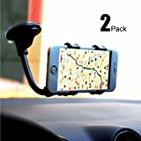 [2pack] Car Mount Cradle,CaseHQ Universal Windshield Dashboard Double Clip Strong Suction Cup Cell Phone Holder for iPhone 8 8 Plus X 7 7 Plus 6 6 Plus Galaxy S5 S6 S7 S8 Androids,GPS etc.-Black
