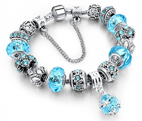 Beaded Bracelet Handmade Carved Sterling Silver Plated Snake Chain Charm Bracelet for Women 19.5cm by DA (Blue)