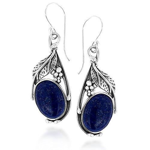 925 Oxidized Sterling Silver Blue Lapis Lazuli Gemstone Feather Dangle Hook Earrings