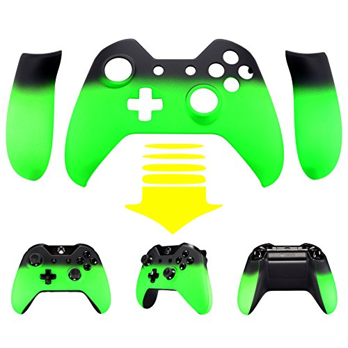 eXtremeRate® Green Shadow Soft Touch Top Shell Front Housing Faceplate Replacement Parts with Side Rails Panel for Xbox One Controller W/3.5 mm (Xbox One Controller Panels compare prices)