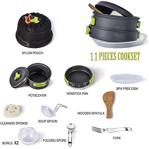 TTLIFE Camping Cookware Mess Kit Backpacking Gear & Hiking Outdoors Bug Out Bag Cooking Equipment 12 Pcs by TTLIFE
