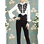 Choies Women's Vintage White with Black Lace Stand-Up Collar Puff Long Sleeve Shirt 8