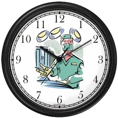 Surgeon Medical Doctor Wall Clock by WatchBuddy Timepieces (Black Frame) by WatchBuddy