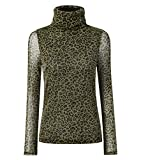 Women Turtleneck Sexy Mesh Breathable Stretchy Sheer Tops Long Sleeve Tunic Blouse,Green S